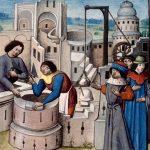 Miniature de la construction d'une abbaye