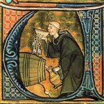 Miniature d'un moine goutant le vin